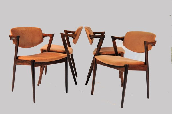 Model 42 Rosewood Dining Chairs By Kai Kristiansen For Schou Andersen Set Of 4