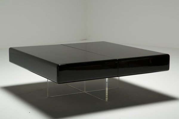 Superieur Black Lacquer Coffee Table With Perspex Base 3