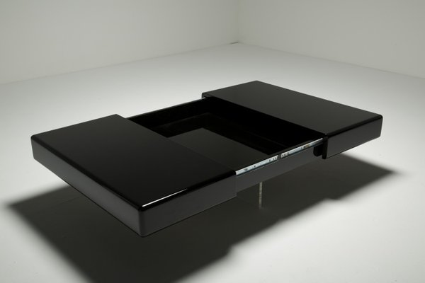 Charmant Black Lacquer Coffee Table With Perspex Base 7