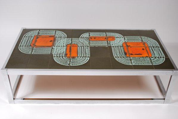 Tavolino da caffè vintage a mattonelle anni 60 in vendita su pamono