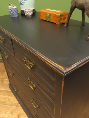 Large Antique Black Painted Dresser