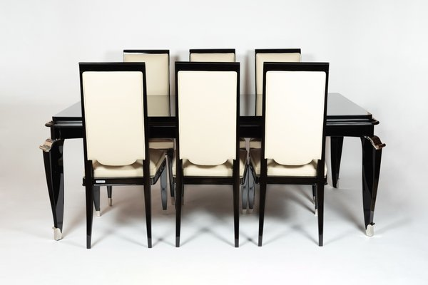 Black White Highback Dining Chairs, Dining Room Chairs Set Of 6 Black And White