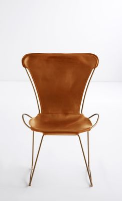 Aged Brass Steel U0026 Natural Tobacco Vegetable Tanned Leather HUG Chair By  Jover+Valls 1