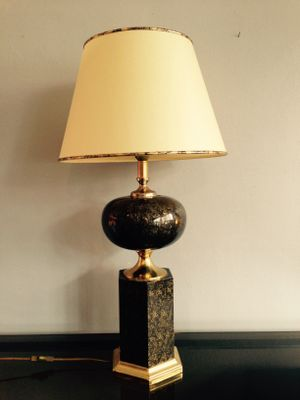 French Black And Gold Table Lamp, 1970s For Sale At Pamono