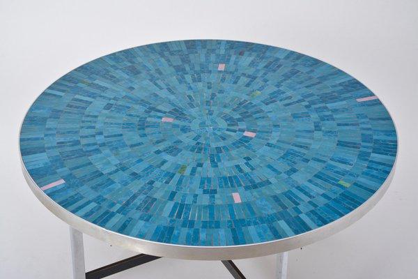 Table Basse Bleue en Mosaïque de Berthold Müller-Oerlinghausen, 1960s