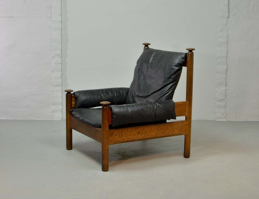Black Leather Scandinavian Lounge Chair 1960s 1