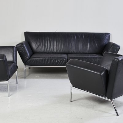 Black Leather Sofa Set from COR