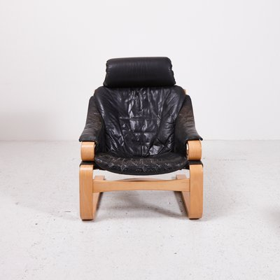 Prime Danish Black Leather Easy Chair With Ottoman From Skippers Mobler Short Links Chair Design For Home Short Linksinfo