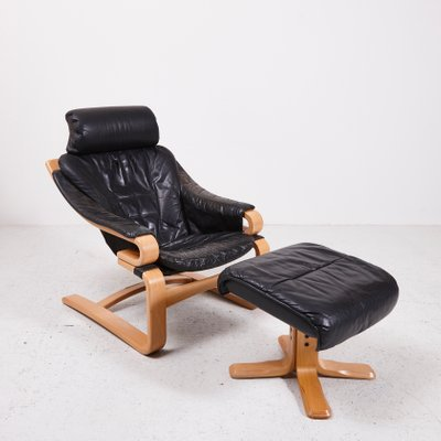 Danish Black Leather Easy Chair With