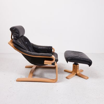 Pleasant Danish Black Leather Easy Chair With Ottoman From Skippers Mobler Short Links Chair Design For Home Short Linksinfo
