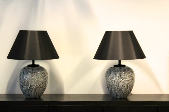 Large Ceramic Table Lamps From Pander, 1970s, Set Of Two 8