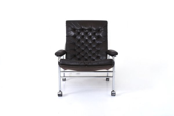 Outstanding Bore Leather Chrome Lounge Chair Footstool Set By Noboru Nakamura For Ikea 1970S Machost Co Dining Chair Design Ideas Machostcouk