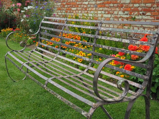 Fantastic Antique Wrought Iron 4 Seater Garden Bench Ibusinesslaw Wood Chair Design Ideas Ibusinesslaworg