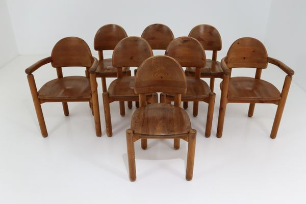 Pine Dining Room Chairs by Rainer Daumiller for Hirtshalls Sawmills, 1970s,  Set of 8