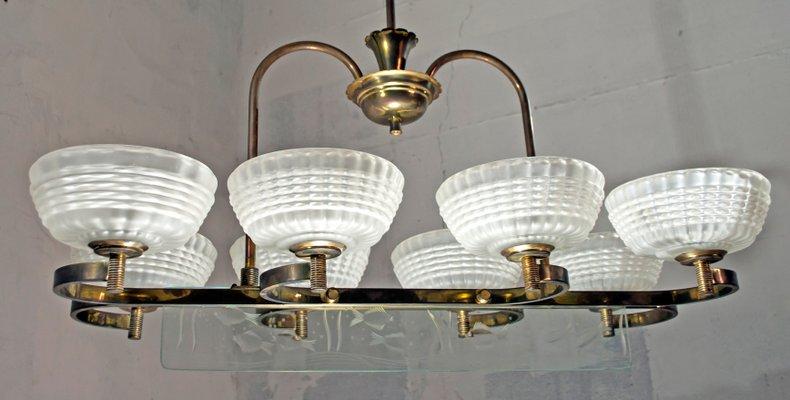 Lampadari Murano Barovier E Toso.Murano Glass Brass Chandelier By Ercole Barovier For Barovier Toso 1940s