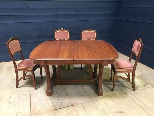 Antique French Mahogany Dining Table & 6 Chairs Set
