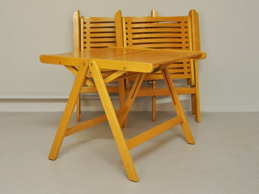 Rex Folding Chairs Table By Niko Kralj 1952 Set Of 3 For Sale