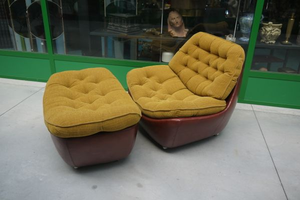 Italian Leather Armchair With Pouf 1970s