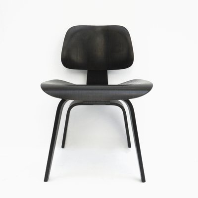 Vintage Dcw Black Dining Chair By Charles Ray Eames For Herman
