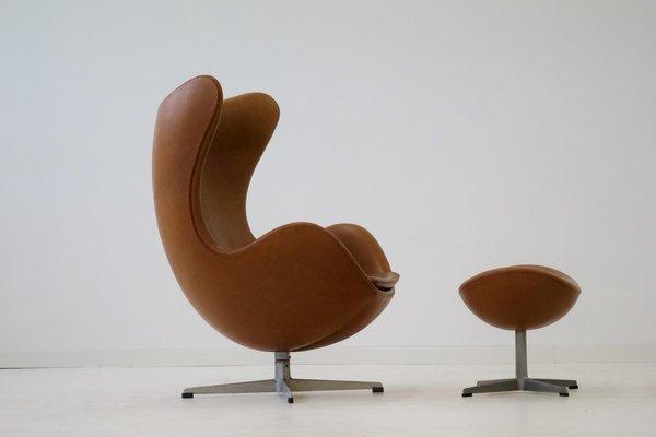 Leather Egg Lounge Chair Ottoman By Arne Jacobsen For Fritz Hansen