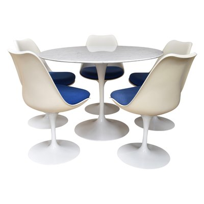 Vintage Dining Set With Round Marble Table By Saarinen For Knoll 2