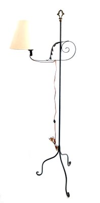 Vintage Wrought Iron Floor Lamp With 3 Legs 1960s