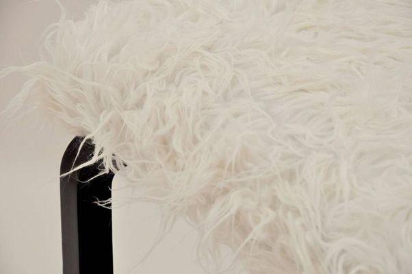 Sgabelli modernisti con finta pelliccia di agnello francia 1950
