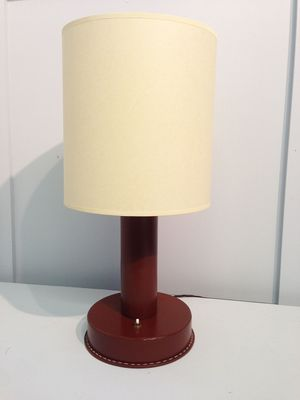 Large Red Leather Table Lamp 1940
