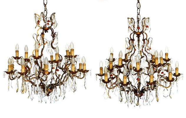 Lampadari Antichi Con Gocce Di Cristallo.Lampadari Antichi In Ferro Battuto Dorato Con Gocce In Cristallo Set Di 2