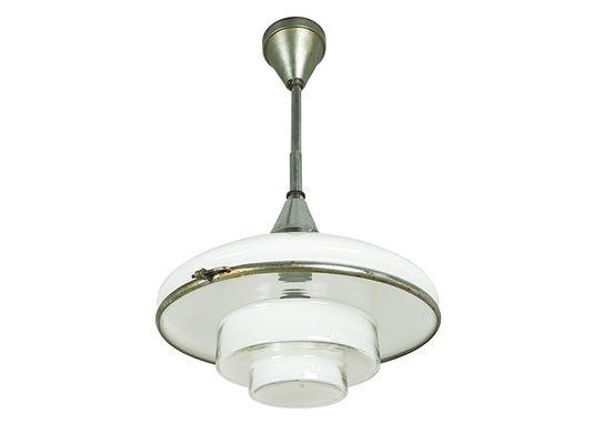 À Sistrah1930s Petite Müller Opalin Par Pour Lampe Plaquéamp; Verre Suspension Otto En Chrome YW29EDHI