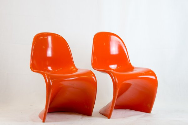 Mid Century 1st Edition Orange Panton Chairs By Verner Panton For Fehlbaum,  Set Of 2