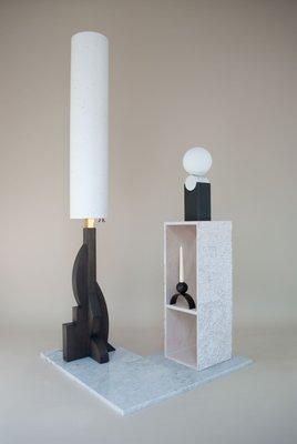 Floor Lamp With Geometric Oak Base