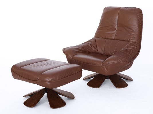 Astonishing Vintage Leather Swivel Chair With Ottoman Creativecarmelina Interior Chair Design Creativecarmelinacom