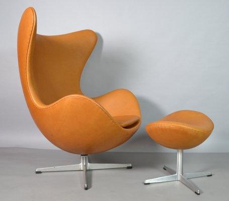 Leather Egg Chair & Ottoman by Arne Jacobsen for Fritz Hansen, 1970s ...