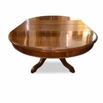 Tavolo ovale antico allungabile in noce, inizio XIX secolo
