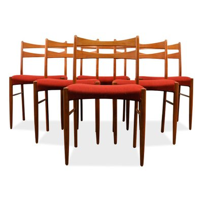 Vintage Danish Teak Dining Chairs in Wine Red Fabric, Set of 6