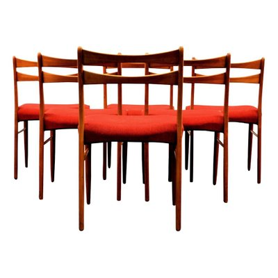 Vintage Danish Teak Dining Chairs In Wine Red Fabric Set Of 6 4