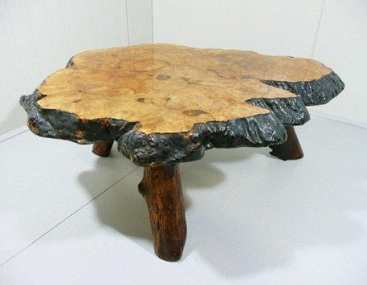 table basse tronc d arbre par frank armich sr jr 1960s