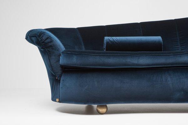 Blue Velvet Sofa 1970s For At Pamono