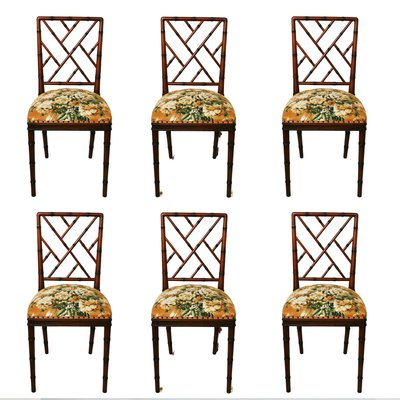 Hollywood Regency Style Faux Bamboo Chairs, 1970s, Set Of 6 1
