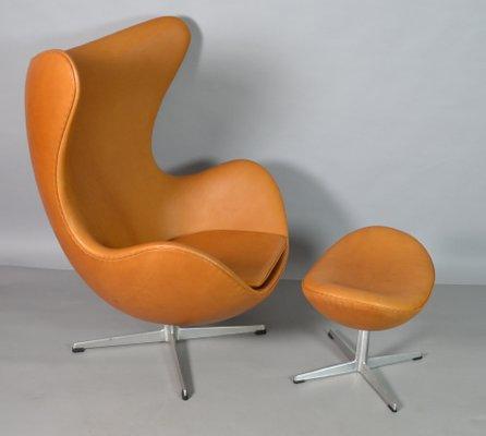Fantastic Leather Egg Chair Ottoman By Arne Jacobsen For Fritz Hansen 1970S Ibusinesslaw Wood Chair Design Ideas Ibusinesslaworg
