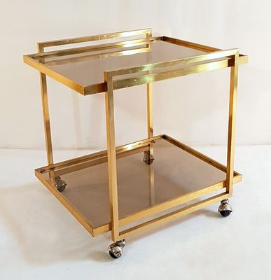 Vintage Bar Cart >> Vintage Brass Bar Cart 1970s