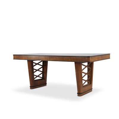 Art Deco Italian Rosewood Dining Table With Black Glass Top, 1950s 1