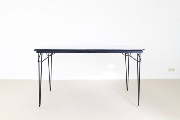 Industrial Dutch Dining Table With Black Steel Wire Frame, 1965