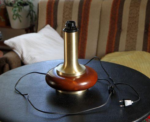 Lampada da tavolo vintage in legno e acciaio inox in vendita su pamono