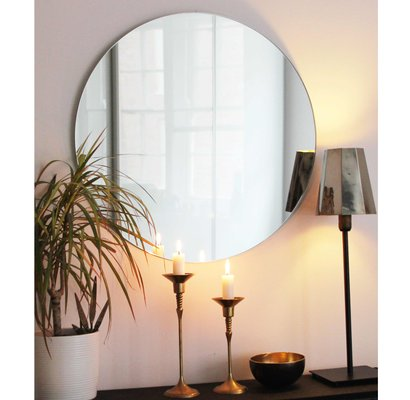Medium Silver Orbis Round Mirror Frameless By Alguacil Perkoff For Sale At Pamono
