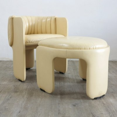 Vintage Lounge Chairs With Foot Stools By Poltrona Frau, 1970s, Set Of 6 3