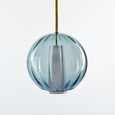 lampe à suspension bleue océan, collection moire, en verre soufflé à