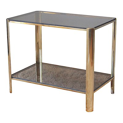 Bronze And Tinted Glass Side Table By Jacques Quinet For Broncz 1960s 1