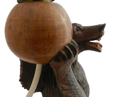Vintage German Carved Wooden Bear Table Lamp 1920s For Sale At Pamono